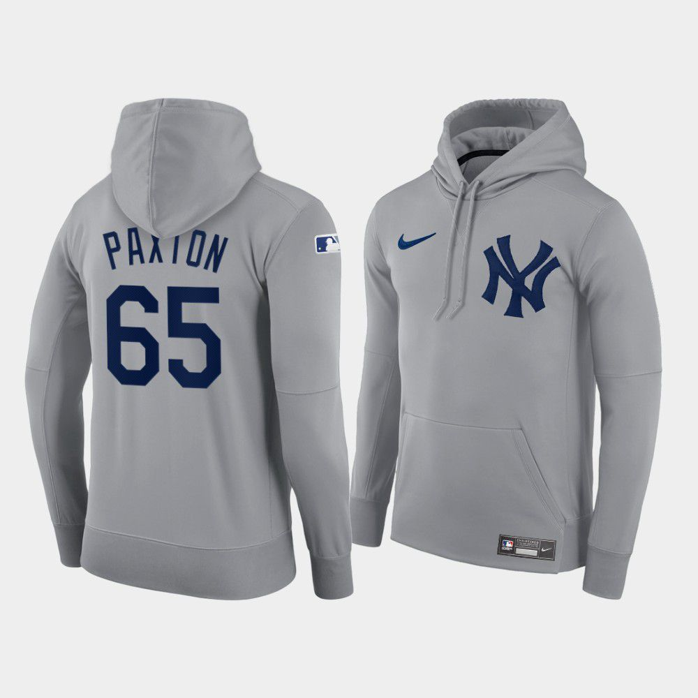 Cheap Men New York Yankees 65 Paxton gray hoodie 2021 MLB Nike Jerseys